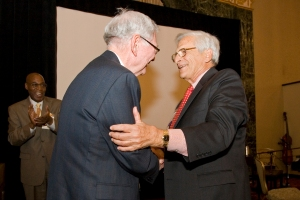 Illinois Supreme Court Chief Justice Thomas Fitzgerald congratulates Lou Garippo on receiving TASC's 2009 Justice Leadership Award. Photo by Paul Merideth.