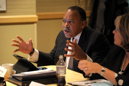 ONDCP's Benjamin Tucker (left) makes a point as TASC's Pamela Rodriguez listens. Photo by Dan Rest.