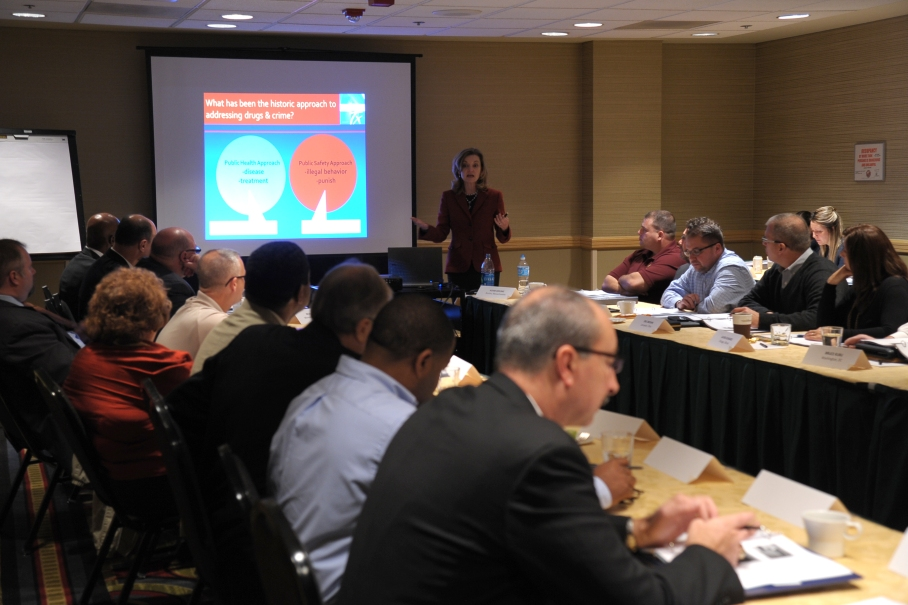 NIDA's Redonna Chandler presents data on the neuroscience of drug use. Photo by Dan Rest.