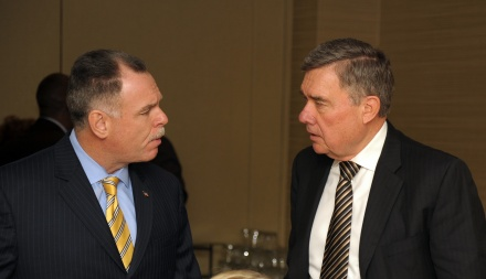 Chicago Police Superintendent Garry McCarthy (left) speaks with National Drug Control Policy Director R. Gil Kerlikowske. Photo by Dan Rest.