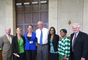 Members of the Cook County Mental Health Court team (left to right): Director of Specialty Courts Judge Lawrence Fox; Assistant State's Attorney Emily Cole; TASC Clinical Case Manager Rachel Wendt; Judge Thomas Gainer; Mental Health Probation Officer Michelle Hargon; TASC Clinical Supervisor Pam Ewing; and Judge Clayton Crane. (Photo: TASC)