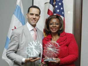 TASC's 2014 Honorees:  Steve Pemberton (left), Public Voice Leadership Award; Illinois State Senator Mattie Hunter, Justice Leadership Award.  Photo by Uk Studio.