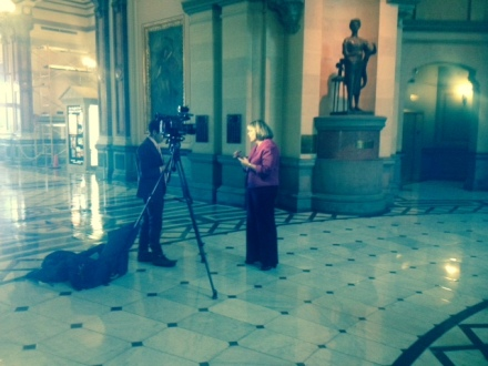 TASC President Pam Rodriguez, named to Governor Rauner's criminal justice reform commission, is interviewed by WICS Newschannel 20 at the Illinois Capitol in Springfield.