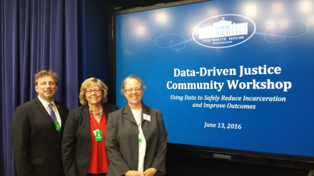 (left to right): TASC's Jac Charlier, Pam Rodriguez, and Maureen McDonnell participated in the Data-Driven Justice inaugural workshop at the White House on June 13.