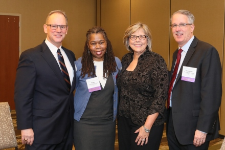 TASC presents its 2016 Justice Leadership Award to the Chicago Reporter. Left to right: Peter Palanca, TASC; Susan Smith, The Chicago Reporter; Pam Rodriguez, TASC; Rev. Curtiss DeYoung, Community Renewal Society